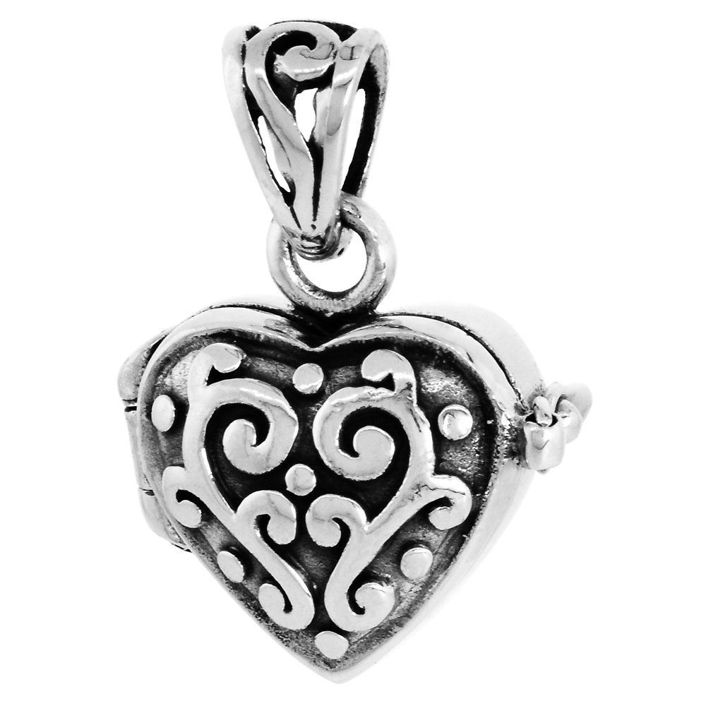 Sterling Silver Prayer Box Necklace Heart Shape Floral Design with 18 in. chain, 1/2 inch