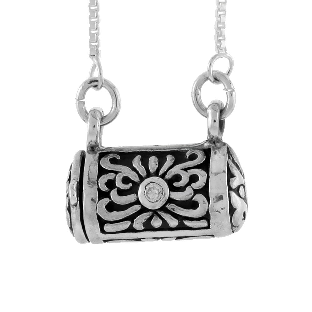 Sterling Silver Prayer Box Necklace Purse Shape Floral Design a CZ Stone, 3/8 inch