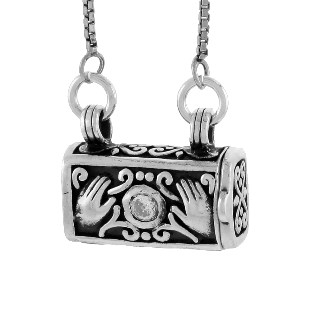 Sterling Silver Prayer Box Necklace Purse Shape Hamsa and CZ Stone with 18 in. chain, 3/8 inch