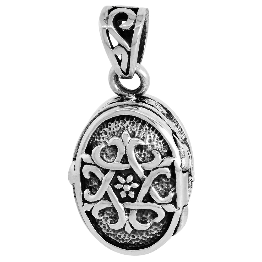Sterling Silver Prayer Box Pendant Oval Shape Star of David Motif, 3/4 inch