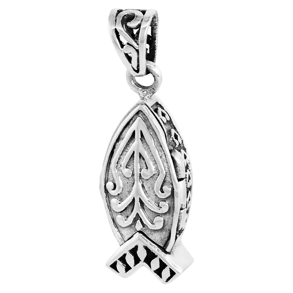 Sterling Silver Prayer Box Pendant Christian Fish Ichthus Motif, 7/8 inch
