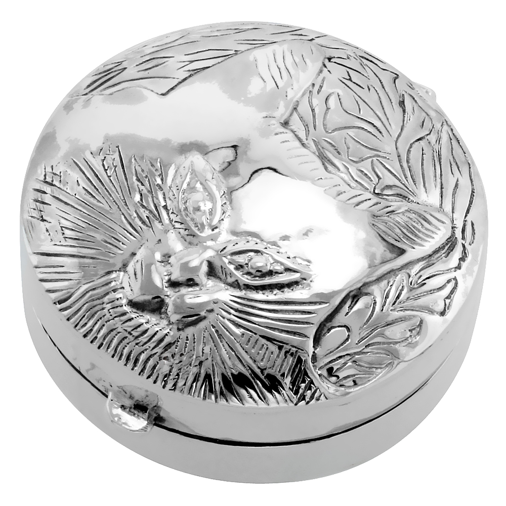 Sterling Silver Pill Box Round Shape, Embossed Finish, 1 3/8 inch