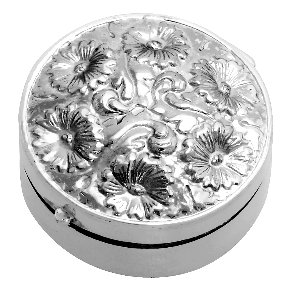 Sterling Silver Pill Box Round Shape, Embossed Finish, 1 1/4 inch