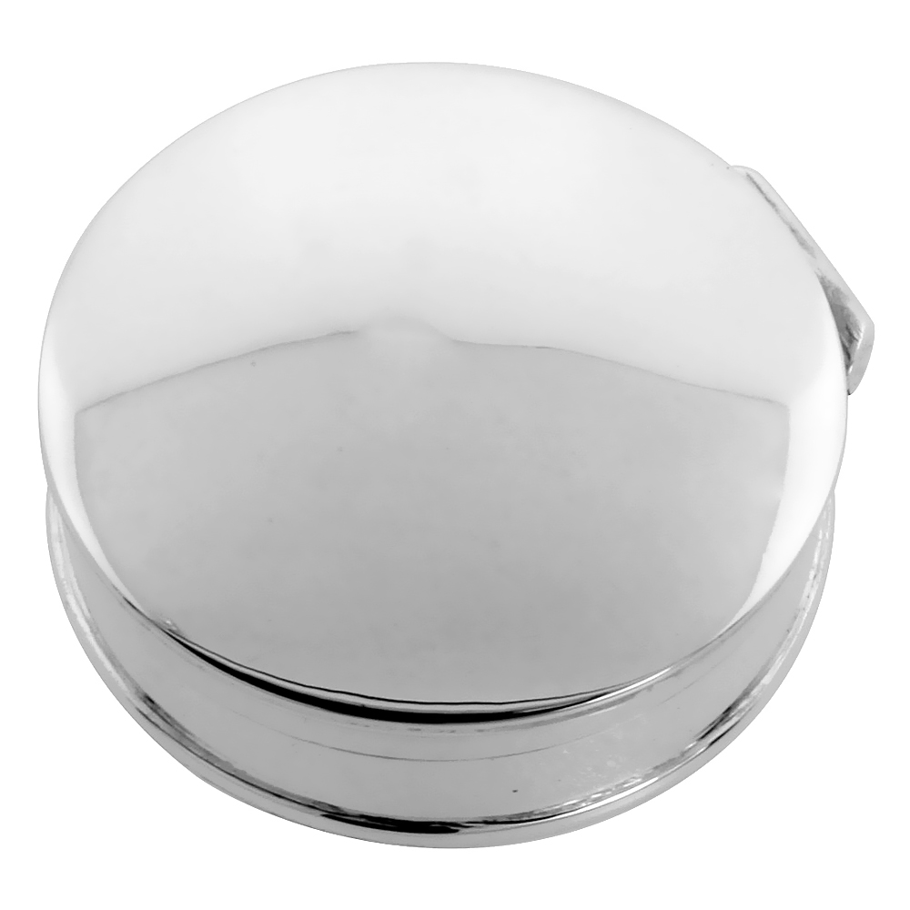 Sterling Silver Pill Box Round Shape Plain High Polished Finish, 1 1/4 inch