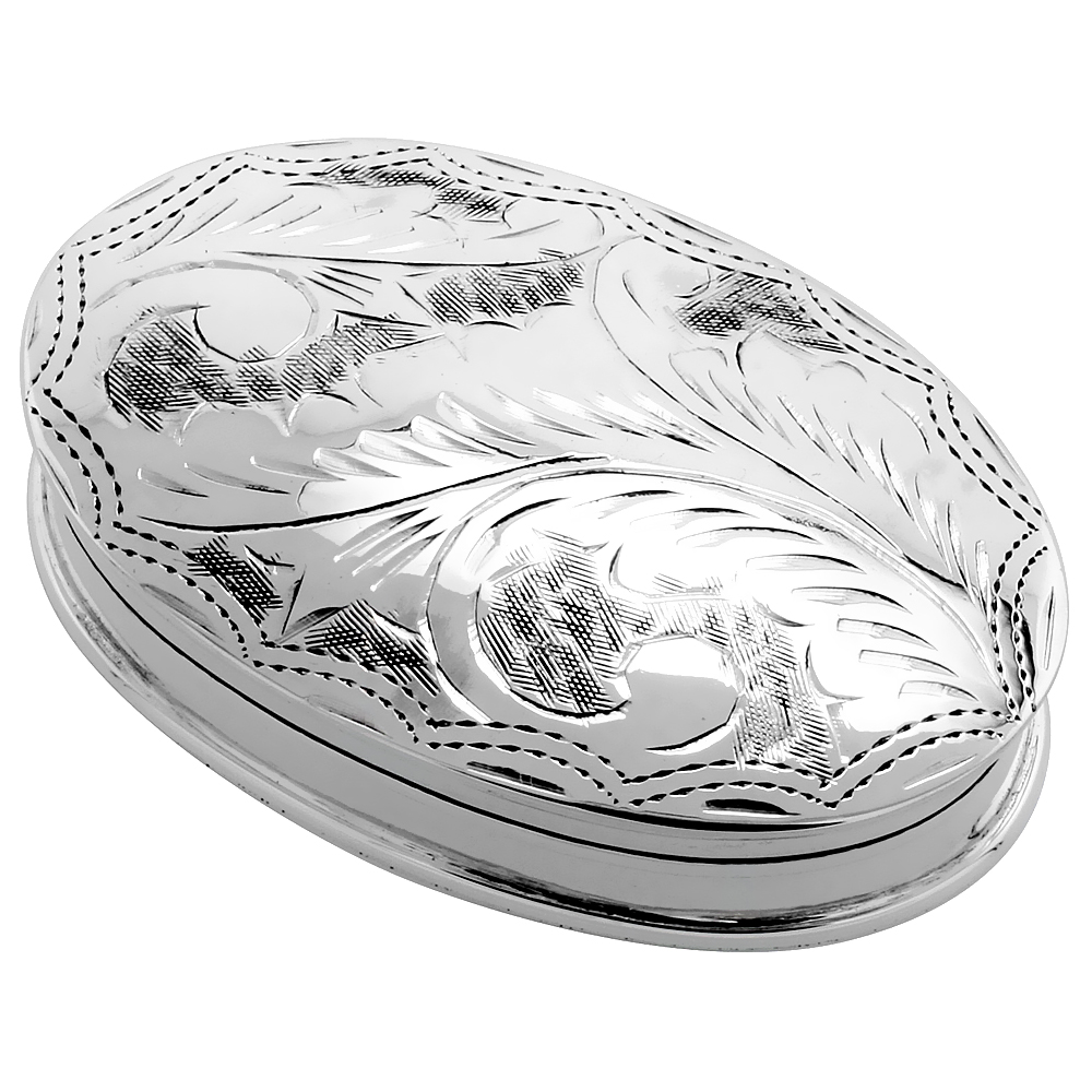 Sterling Silver Pill Box Oval Shape, Engraved Finish, 1 7/8 x 1 1/4 inch