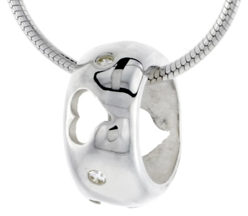 "High Polished Sterling Silver 7/16"" (11 mm) tall Round Pendant Slide, w/ Heart Cut Outs & Brilliant Cut CZ Stones, w/ 18"" Thin Box Chain"