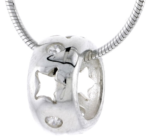 "High Polished Sterling Silver 7/16"" (11 mm) tall Round Pendant Slide, w/ Star Cut Outs & Brilliant Cut CZ Stones, w/ 18"" Thin Box Chain"