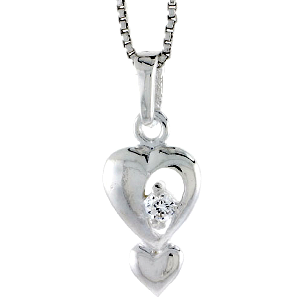 "High Polished Sterling Silver 5/8"" (16 mm) tall Double Heart Pendant, w/ 2mm Brilliant Cut CZ Stone, w/ 18"" Thin Box Chain"