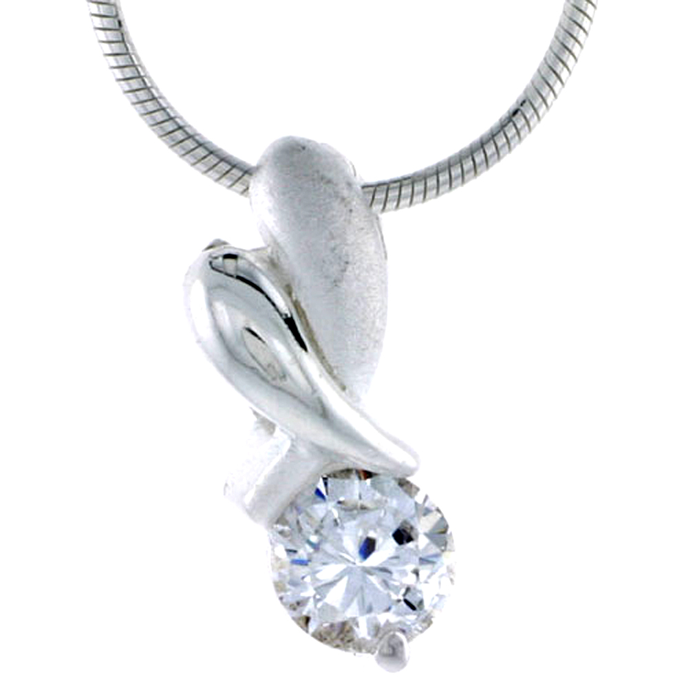 "High Polished Sterling Silver 11/16"" (17 mm) tall ""XO"" Hugs & Kisses Pendant, w/ 6mm Brilliant Cut CZ Stone, w/ 18"" Thin Box Cha"