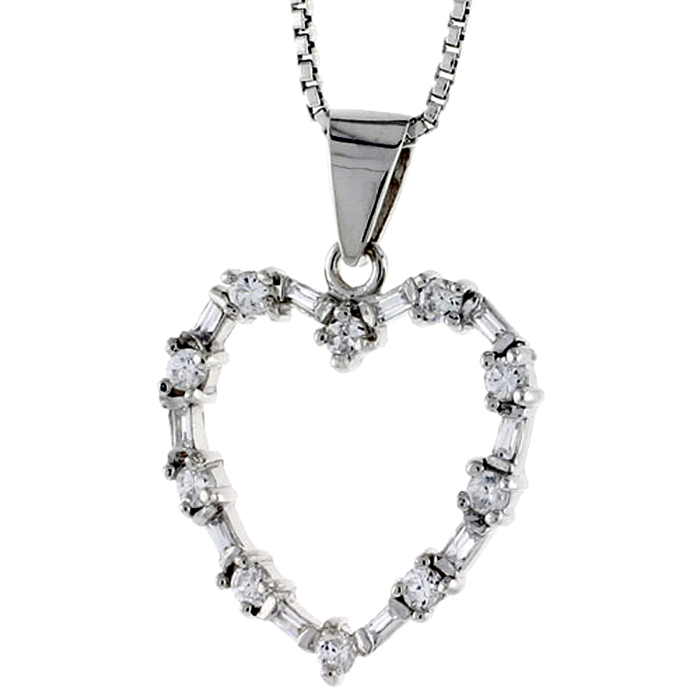 "Sterling Silver Heart Pendant w/ High Quality CZ Stones, 3/4"" (20 mm) tall"