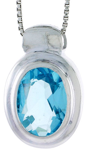 "High Polished Sterling Silver 15/16"" (23 mm) tall Oval-shaped Pendant, w/ Oval Cut 12x9mm Blue Topaz-colored CZ Stone, w/ 18"" Thin Box Chain"