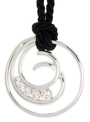 "Sterling Silver Spiral-inspired Graduated Journey Pendant w/ 5 High Quality CZ Stones, 1 1/8"" (29 mm) tall"