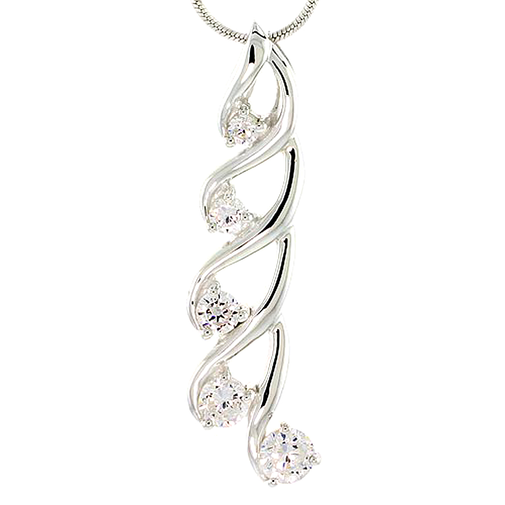 "Sterling Silver Swirl Design Graduated Journey Pendant w/ 5 CZ Stones, 1 1/2"" (37mm) tall"