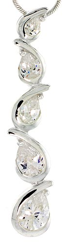 "Sterling Silver Pear-shaped Graduated Journey Pendant w/ 5 CZ Stones, 1 3/4"" (44mm) tall"