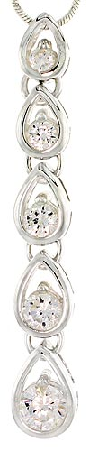 "Sterling Silver Pear Link Graduated Journey Pendant w/ 5 CZ Stones, 1 15/16"" (49mm) tall"