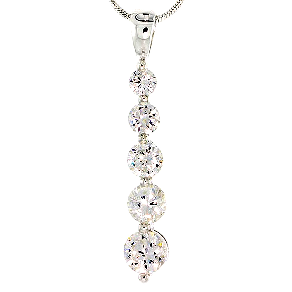 """Sterling Silver Graduated Journey Pendant w/ 5 High Quality CZ Stones, 1 1/16"""" (27 mm) tall"""