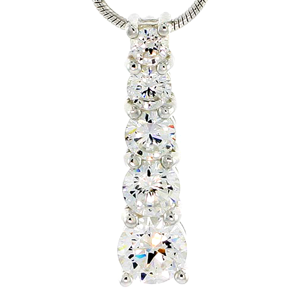 """Sterling Silver Graduated Journey Pendant w/ 5 High Quality CZ Stones, 1"""" (25 mm) tall"""