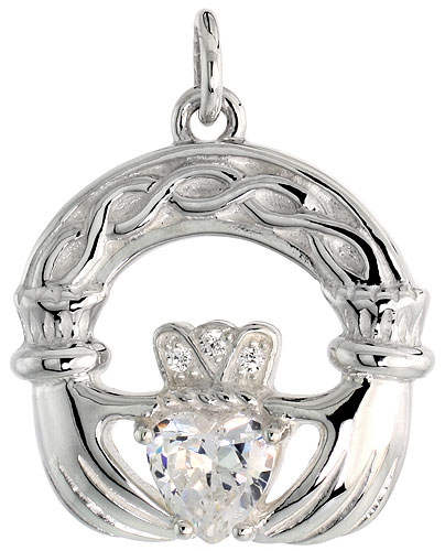 "High Polished Claddagh Pendant in Sterling Silver w/ 6mm Heart-shaped CZ Stone, 13/16"" (21 mm) tall"