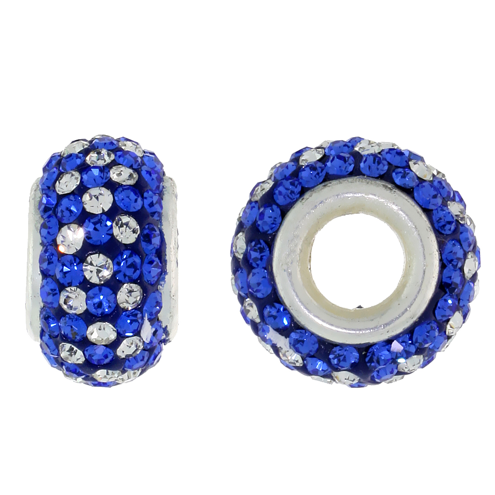 Sterling Silver Crystal Charm Bead White & Cobalt Color Charm Bracelet Compatible, 13 mm