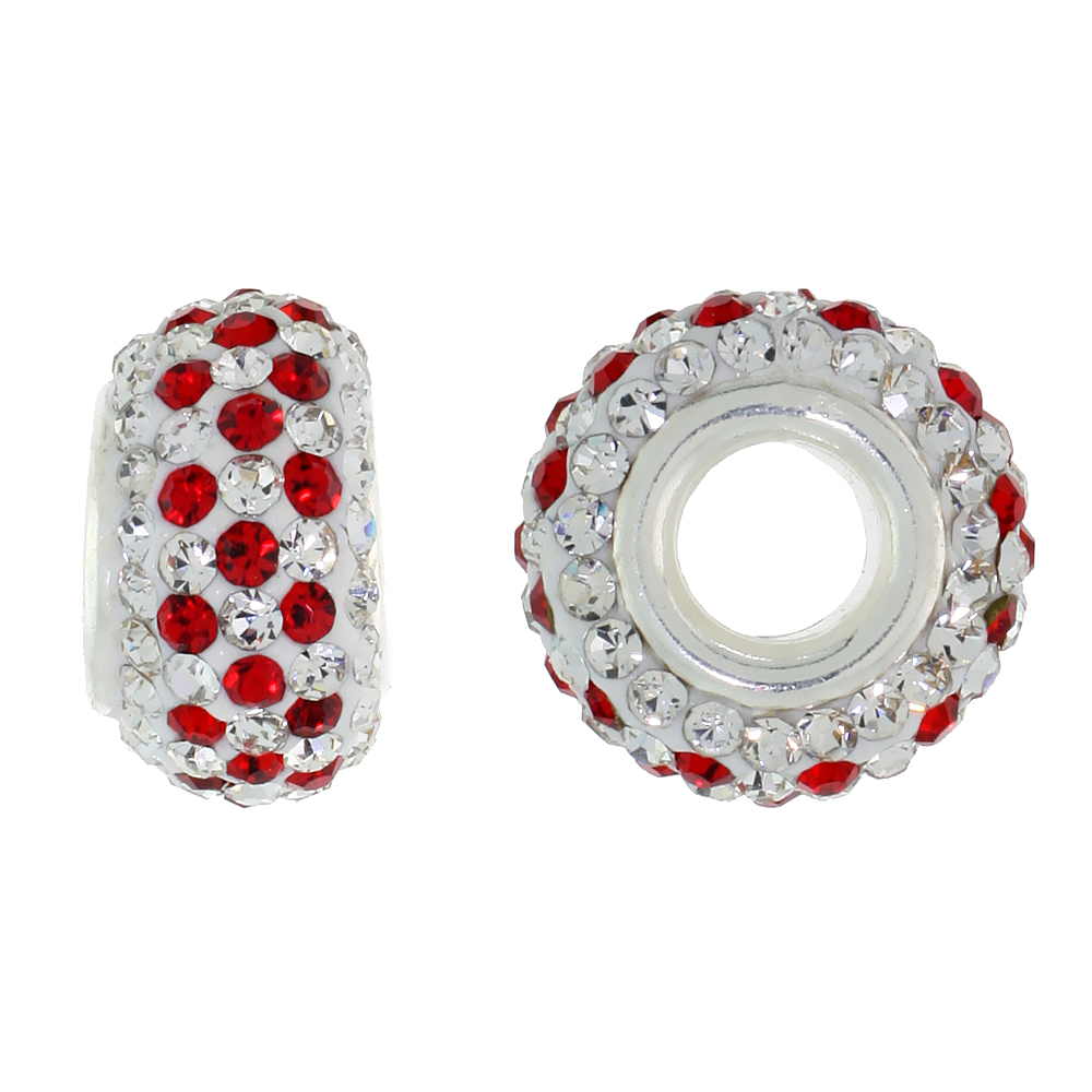 Sterling Silver Crystal Charm Bead White & Red Color Charm Bracelet Compatible, 13 mm