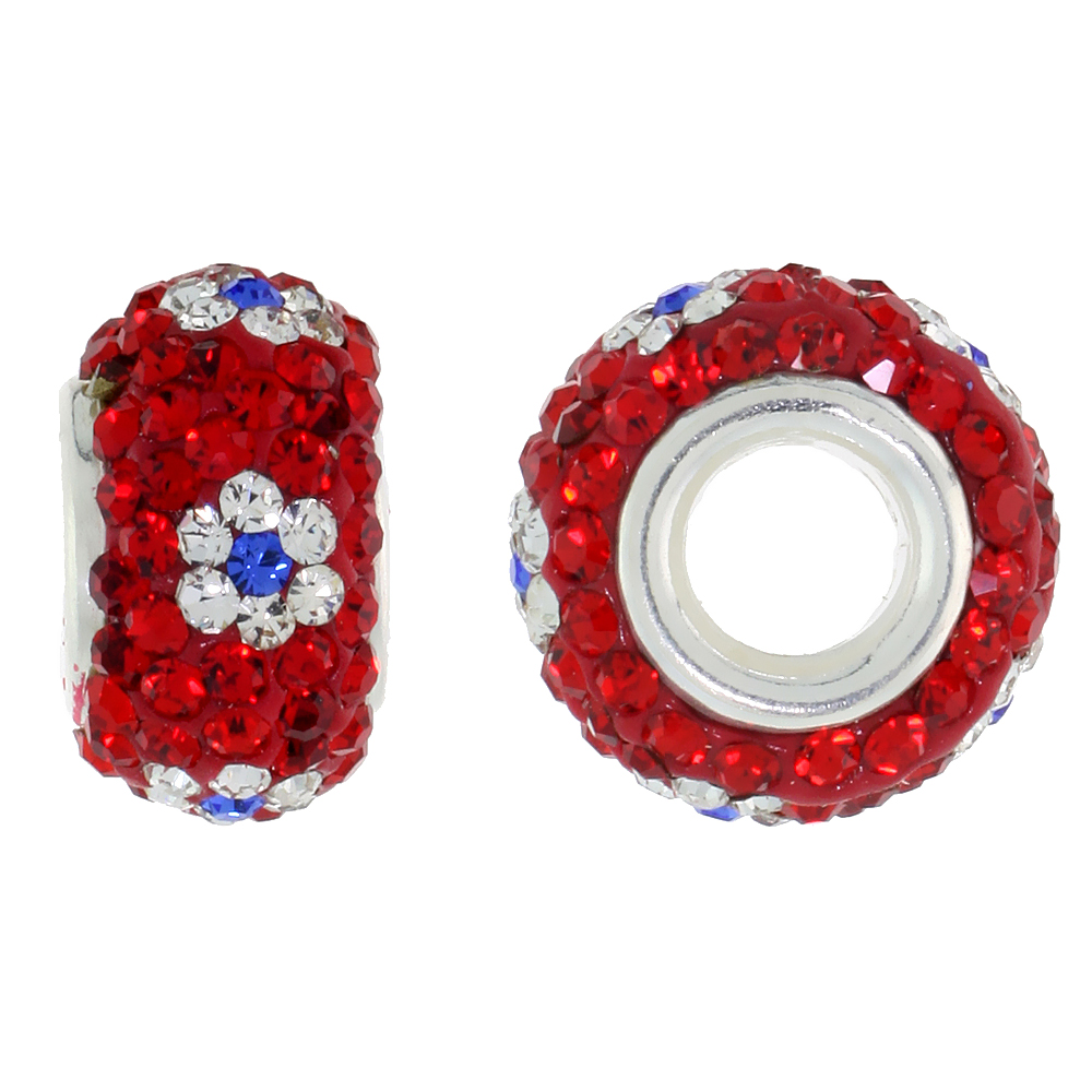 Sterling Silver Crystal Charm Bead Red Centered With White & Cobalt Flower Color Charm Bracelet Compatible, 13 mm