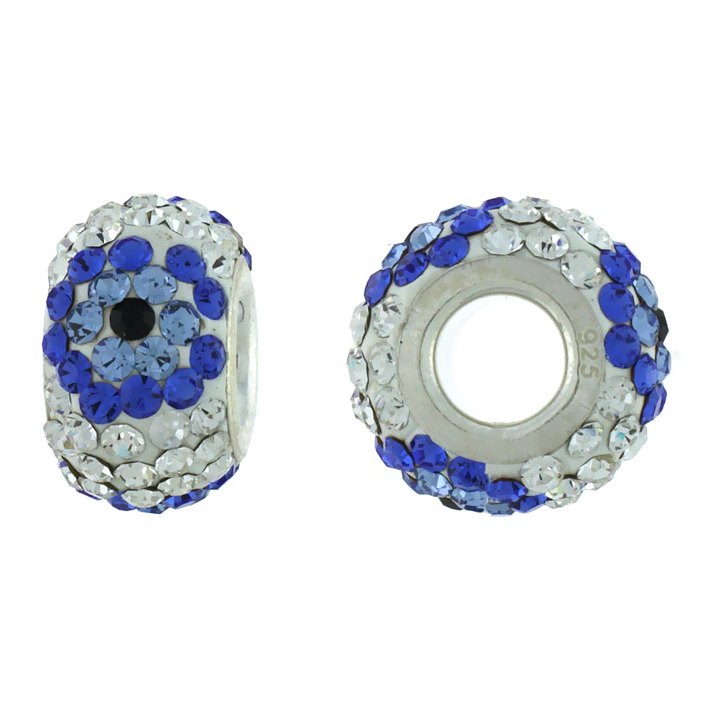 Sterling Silver Crystal Charm Bead White Centered With Cobalt, Blue Topaz & Black Color Charm Bracelet Compatible, 13 mm