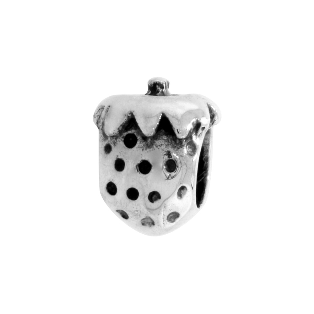 Sterling Silver Strawberry Bead Charm for most Charm Bracelets