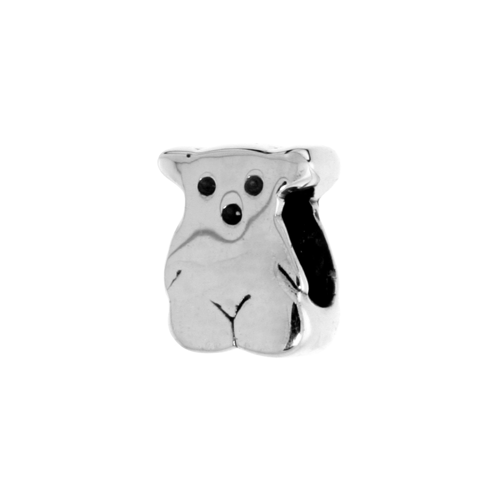 Sterling Silver Teddy Bear Bead Charm for most Charm Bracelets