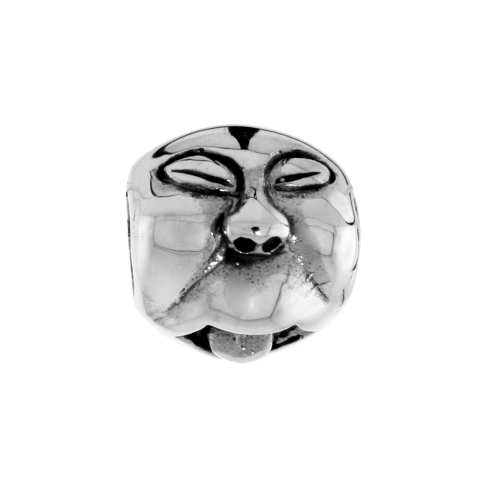 Sterling Silver Funny Face w/ Tongue Out Bead Charm for most Charm Bracelets
