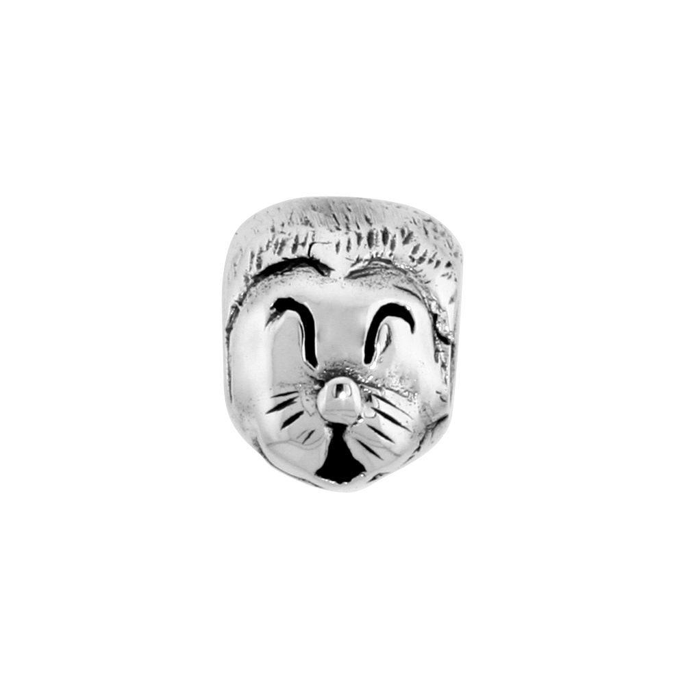 Sterling Silver Happy Cat Face Bead Charm for most Charm Bracelets