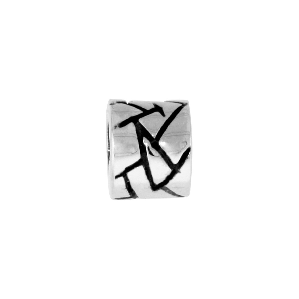 Sterling Silver Barrel Bead Charm for most Charm Bracelets
