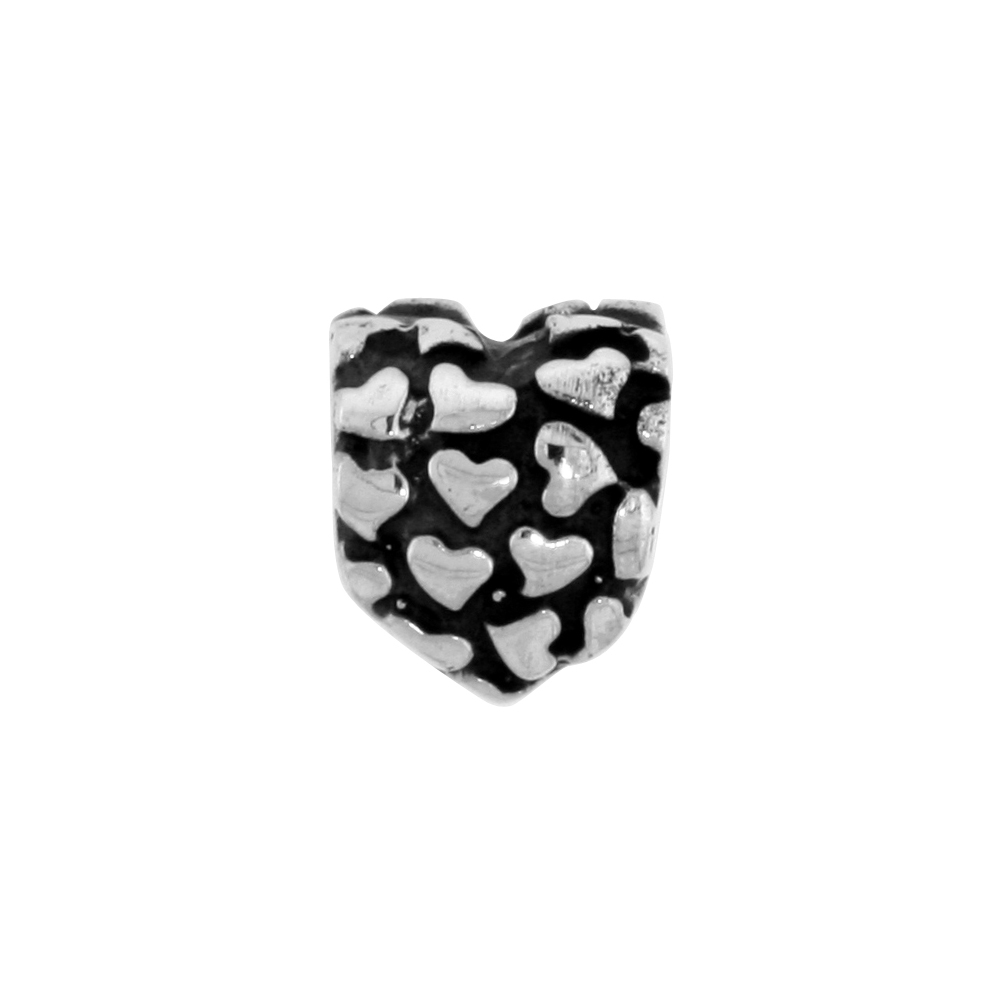 Sterling Silver Heart Bead Charm for most Charm Bracelets