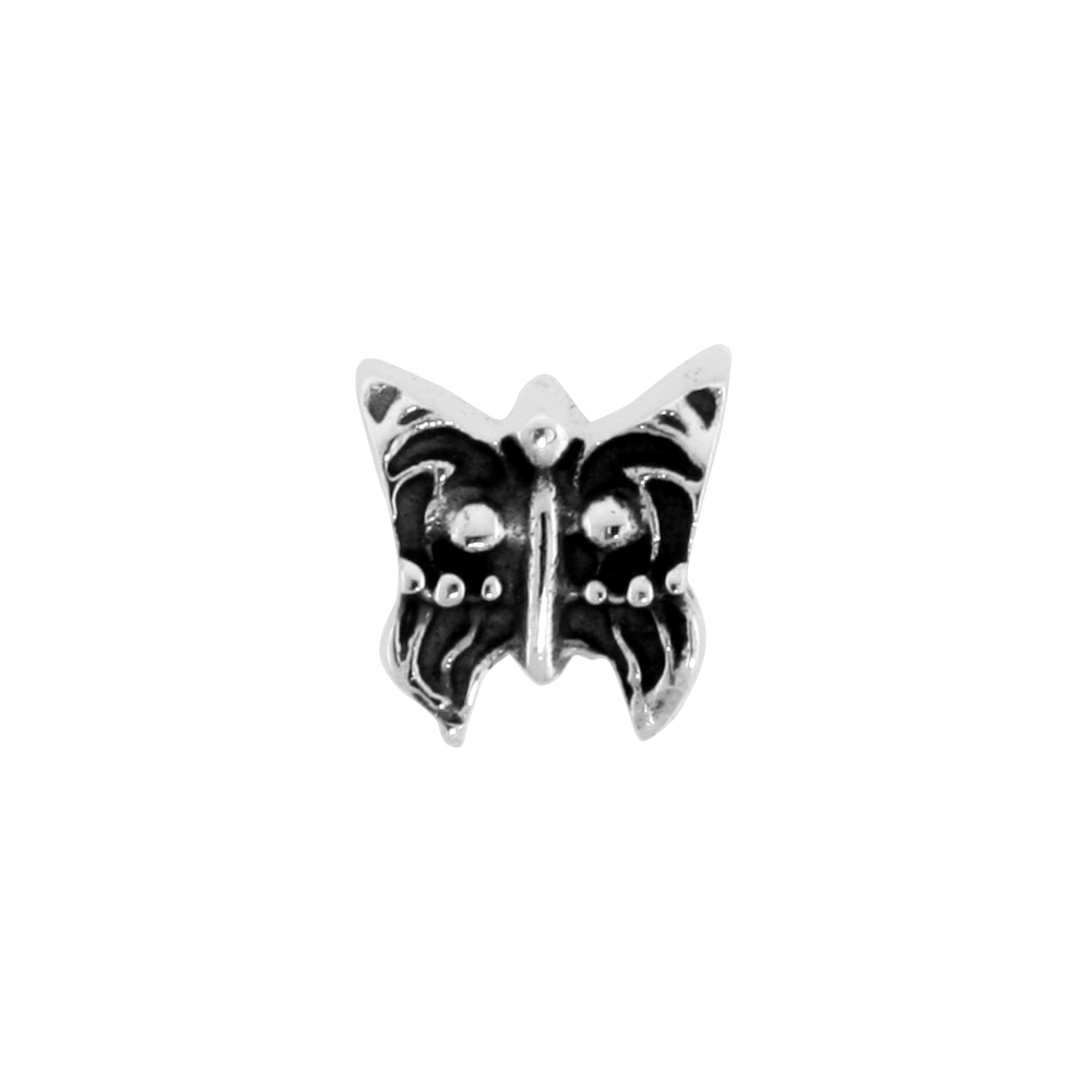 Sterling Silver Butterfly Bead Charm for most Charm Bracelets
