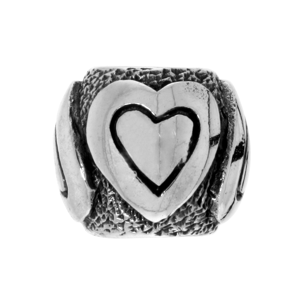 Sterling Silver Heart Barrel Bead Charm for most Charm Bracelets