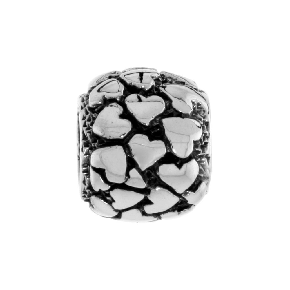 Sterling Silver Multi Heart Barrel Bead Charm for most Charm Bracelets
