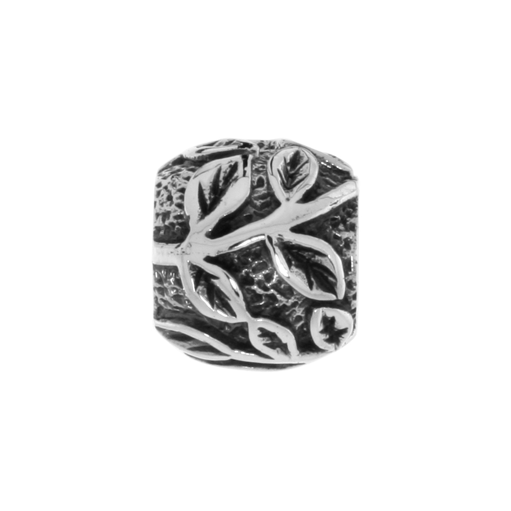Sterling Silver Leaf Vine Barrel Bead Charm for most Charm Bracelets