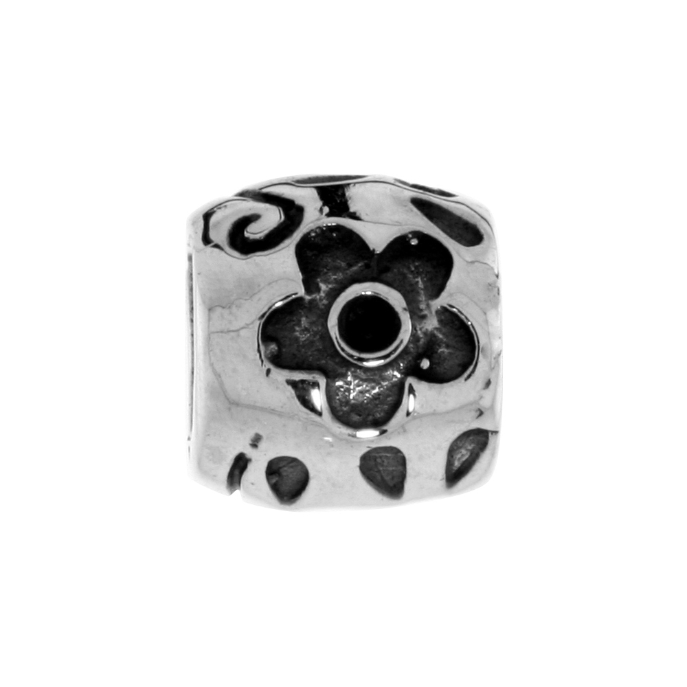 Sterling Silver Sunflower Barrel Bead Charm for most Charm Bracelets