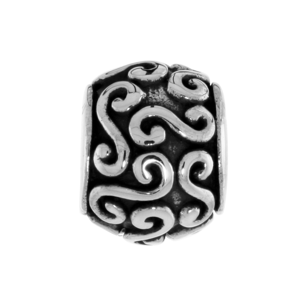 Sterling Silver Swirl Barrel Bead Charm for most Charm Bracelets