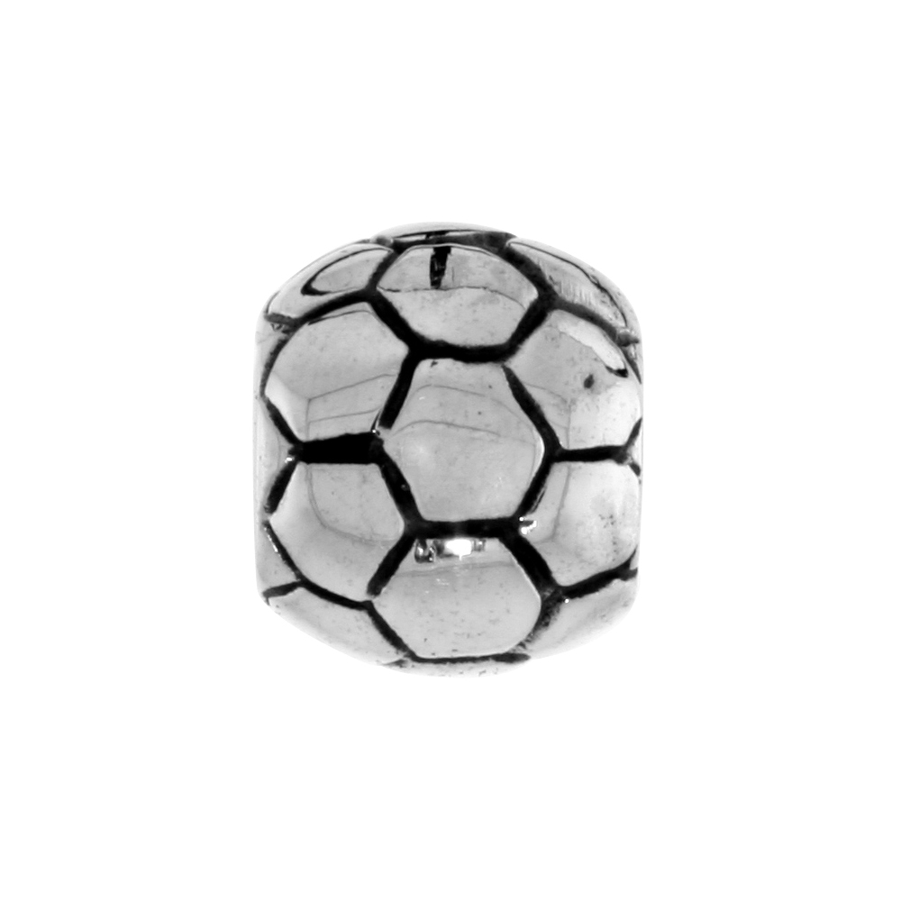 Sterling Silver Soccer Ball Bead Charm for most Charm Bracelets