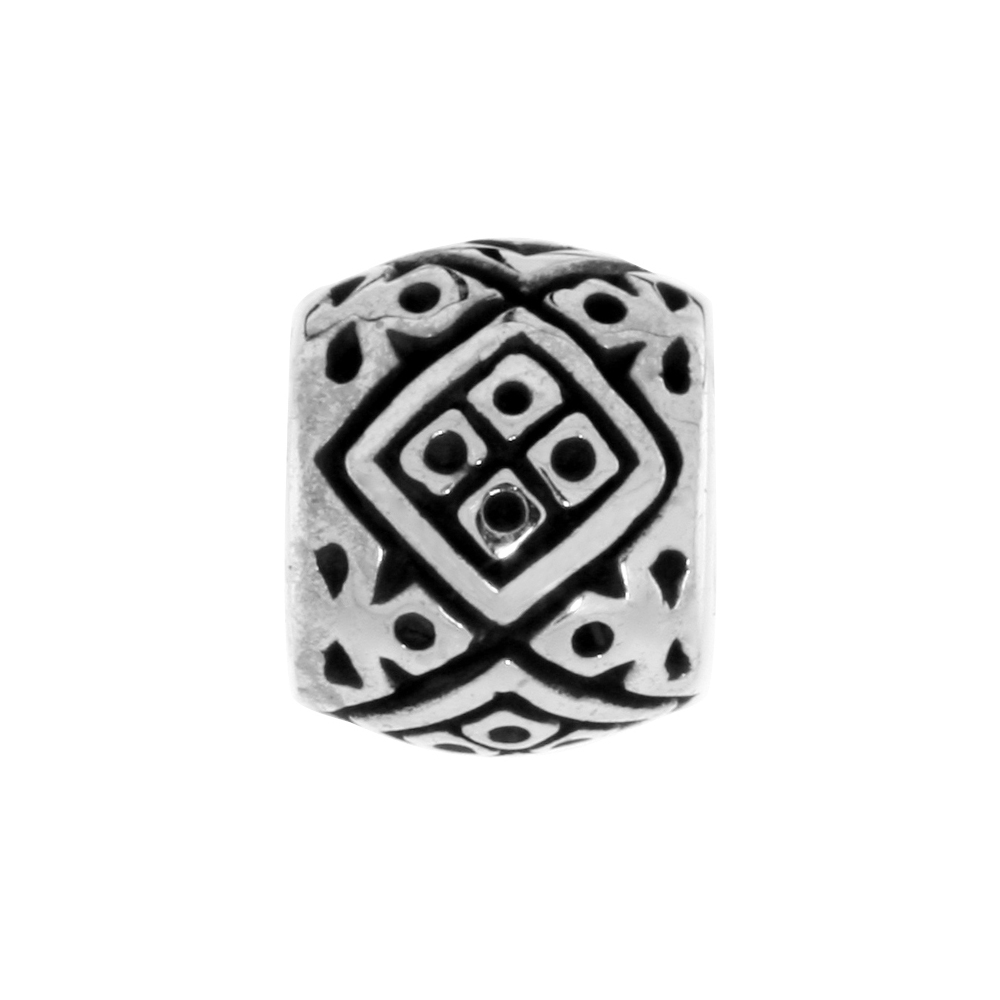 Sterling Silver Diamond Shape Pattern Barrel Bead Charm for most Charm Bracelets