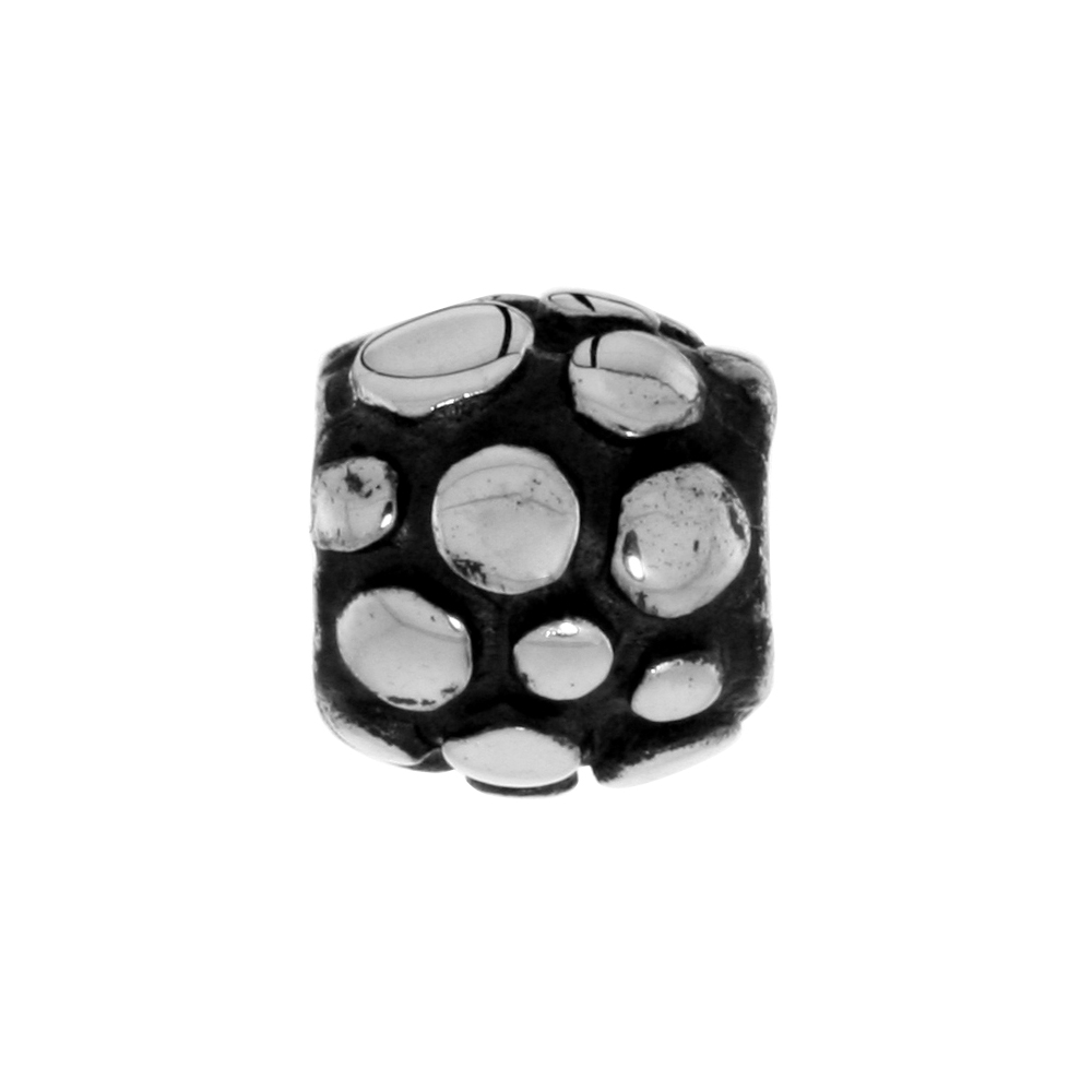 Sterling Silver Dotted Barrel Bead Charm for most Charm Bracelets