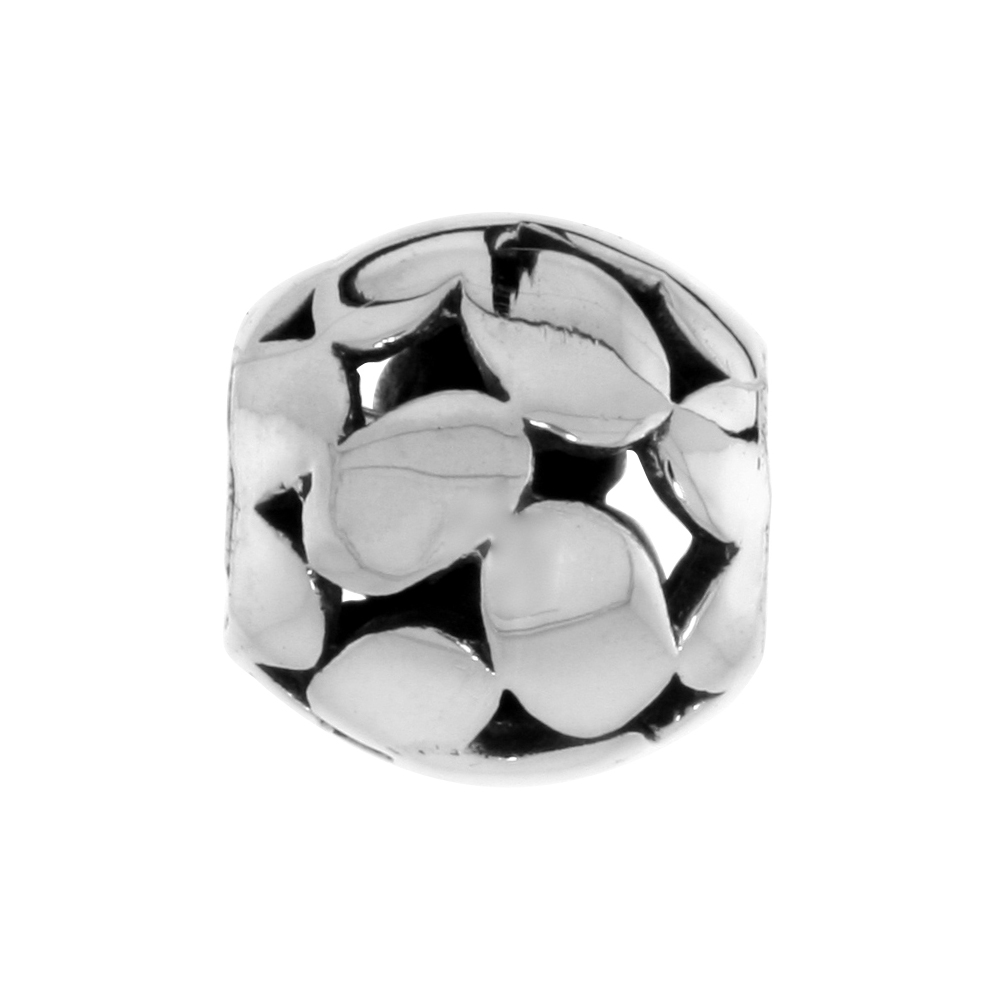 Sterling Silver Multi Oval Barrel Bead Charm for most Charm Bracelets