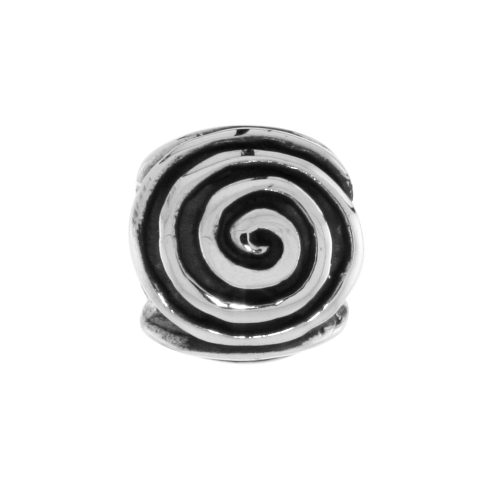 Sterling Silver Whirl Barrel Bead Charm for most Charm Bracelets