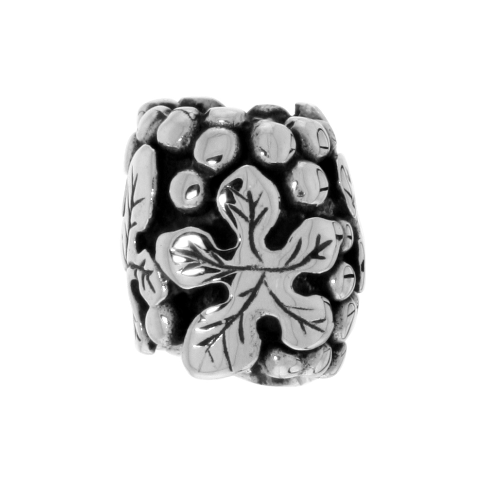 Sterling Silver Five-finger Leaf Barrel Bead Charm for most Charm Bracelets