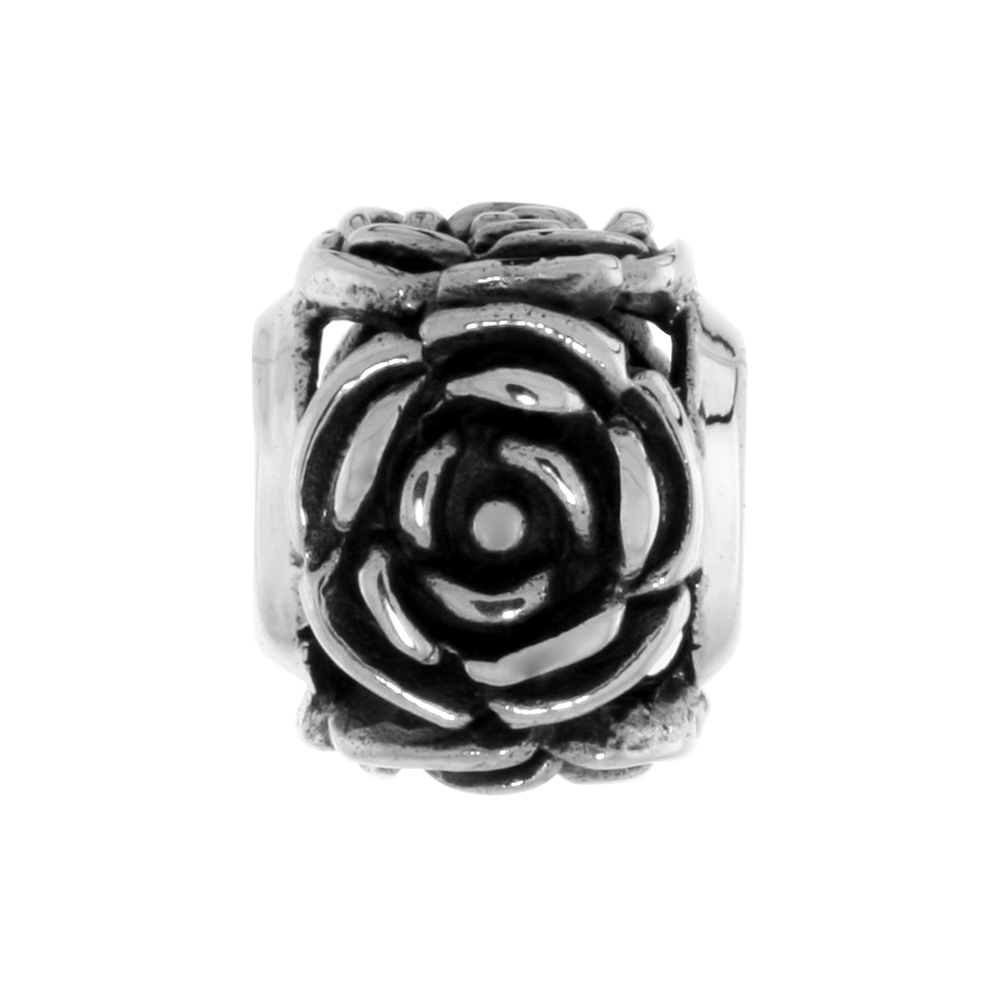 Sterling Silver Rose Bead Charm for most Charm Bracelets