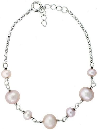 Sterling silver Pearl Bracelet Freshwater 7.5mm Rhodium Finish, 6.5 inch long + 1 in. Extension