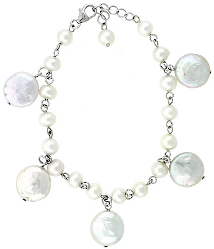Sterling silver Pearl Bracelet Freshwater 14, & 5 mm Rhodium Finish, 6.5 inch long + 1 in. Extension