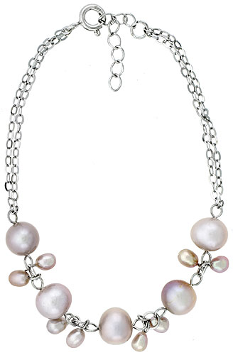 Sterling silver Pearl Bracelet Freshwater 7, & 5.5 mm Rhodium Finish, 7 inch long + 1 in. Extension