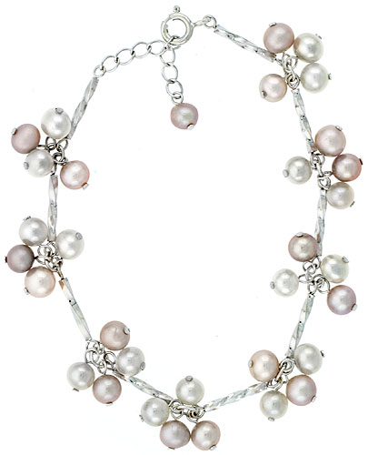 Sterling silver Pearl Bracelet Freshwater 5.5 mm Rhodium Finish, 7 inch + 1.5 in. Extension.