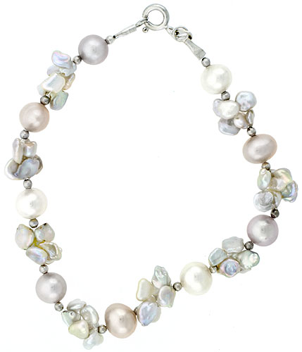 Sterling silver Pearl Bracelet Freshwater 5, & 7.5 mm Rhodium Finish, 8 inch long
